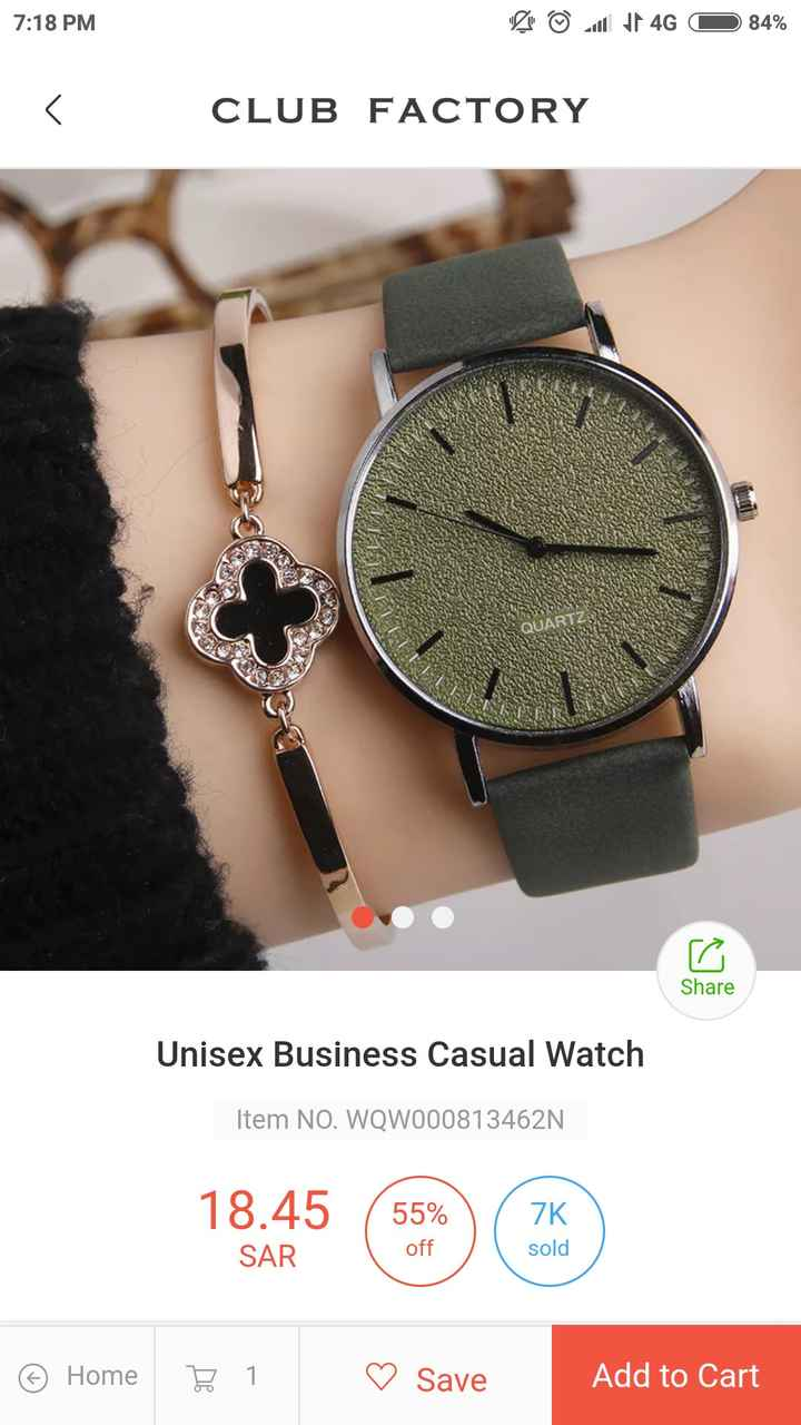 Girls Hand Watches - 7 : 18 PM BO 4G O 84 % < CLUB FACTORY QUART Share Unisex Business Casual Watch Item NO . WQW000813462N 18 . 45 55 % ZK SAR off sold © Home E1 ♡ Save Add to Cart  - ShareChat