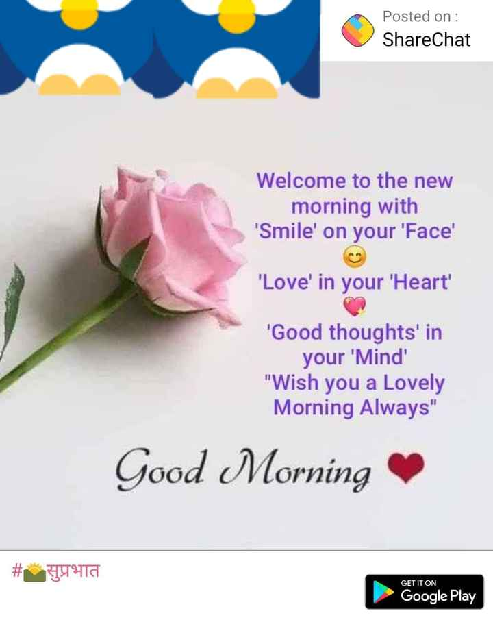 🌞Good Morning🌞 - Posted on : ShareChat Welcome to the new morning with ' Smile ' on your ' Face ' ' Love ' in your ' Heart ' ' Good thoughts ' in your ' Mind Wish you a Lovely Morning Always Good Morning # HTC GET IT ON Google Play  - ShareChat
