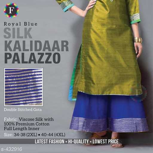 Palazzo Kurta Dress - F Royal Blue SILK KALIDAAR PALAZZO SE A . Double Stitched Gota Fabric : Viscose Silk with 100 % Premium Cotton Full Length Inner Size : 34 - 38 ( 2XL ) 40 - 44 ( 4XL ) LATEST FASHION HI - QUALITY - LOWEST PRICE S - 432916  - ShareChat