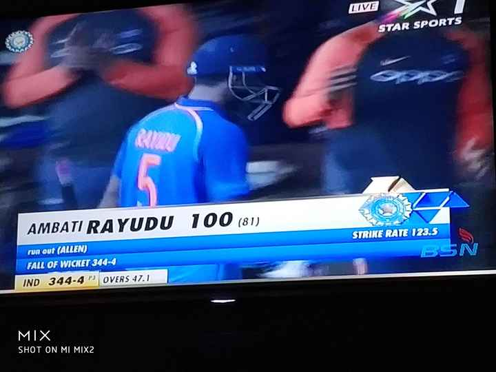 अंबाती रायडू - LIVE STAR SPORTS AMBATI RAYUDU 100 ( 81 ) STRIKE RATE 123 . 5 run out ( ALIEN ) FALL OF WICKET 344 - 4 IND 344 - 4 P3 OVERS 47 . 1 BSN MIX SHOT ON MI MIX2  - ShareChat