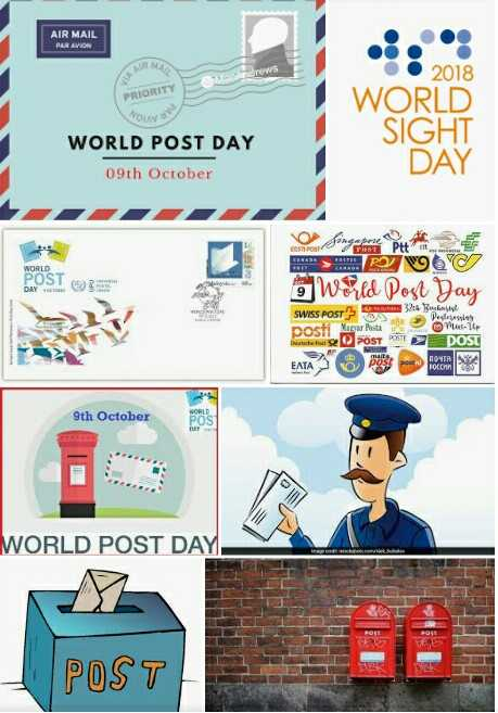 ప్రపంచ తపాలా దినోత్సవం✉ - AIR MAIL ndrews © 2018 O PRIORITY WORLD SIGHT WORLD POST DAY 09th October DAY WORLD POST Singapore Pit 6 EPW6 9 World Post Day SWISS POSTS 3 : 4 Bucatasto posti Magar Pute Ponte war Posta 10 en POST POST POST ETAP Porn 9th October WORLD POST DAY SHE POST  - ShareChat