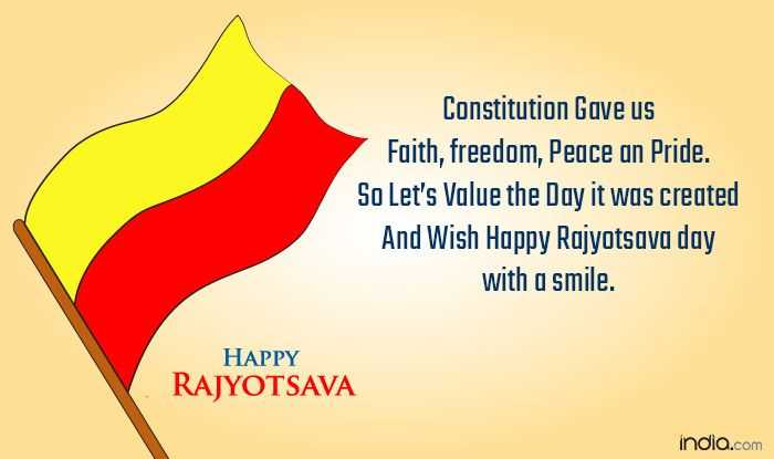 कन्नड़ राज्योत्सव - Constitution Gave us Faith , freedom , Peace an Pride . So Let ' s Value the Day it was created And Wish Happy Rajyotsava day with a smile . HAPPY RAJYOTSAVA india . com  - ShareChat
